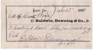 1874 Freight Receipt, BALDWIN, DOWNING & CO., Dr., Hartfo...