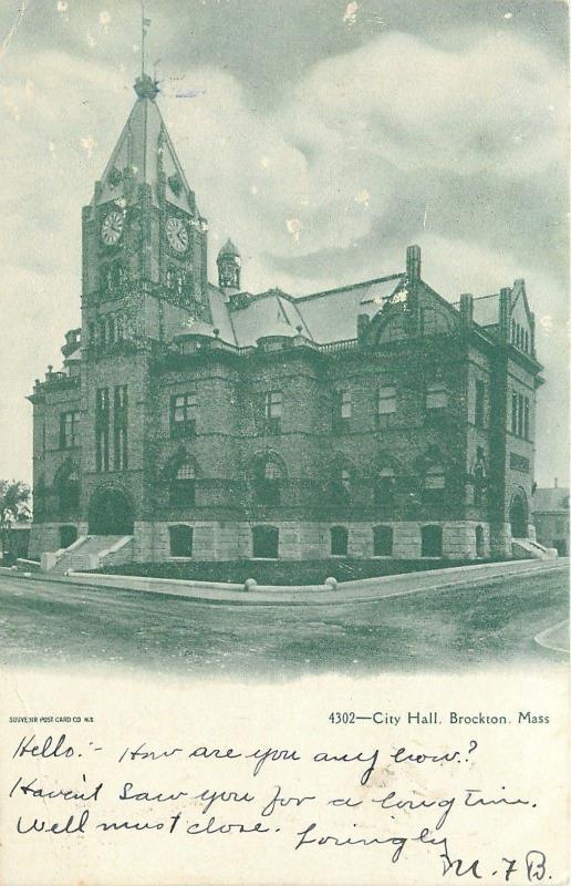 Brockton Massachusetts~1:20 PM on City Hall Clock Tower~1905