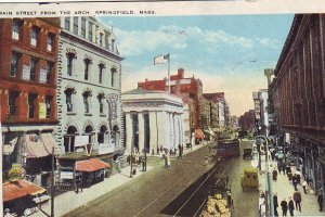 P1269 1930 used postcard street scene trolly old cars main st springfield mass