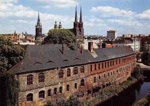 Halle Saale ehemalige Residenz und funf Tuerme Cathedral Dom Panorama
