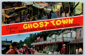Postcard CA Banner Dual View Greetings From Ghost Town Knotts Berry Farm O10