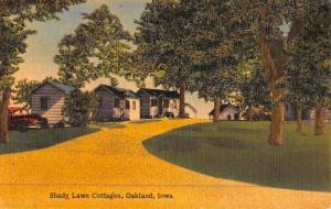 Oakland Iowa Shady Lawn Cottages Street View Antique Postcard K47027