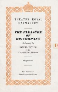 The Pleasure Of His Company Samuel Taylor Comedy Haymarket Theatre Programme