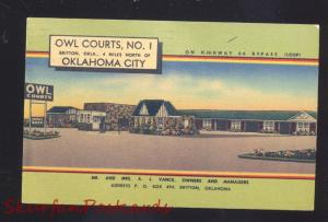 OKLAHOMA CITY OKLAHOMA ROUTE 66 OWL COURTS MOTEL LINEN ADVERTISING POSTCARD