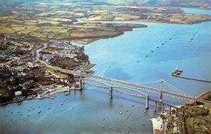 Vintage Devon Cornwall Postcard, Tamar Bridge River, Saltash, Plymouth FI5