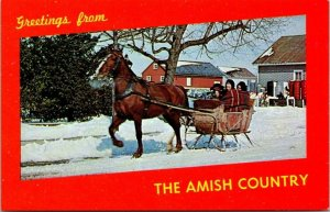 Postcard PA Pennsylvania Lancaster County Greeting Amish Country Horse Sleigh