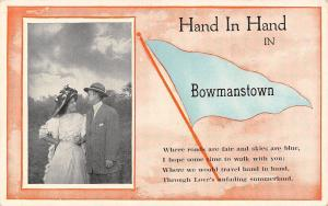 Hand in Hand in Bowmanstown Pennsylvania~Victorian Couple~1914 Pennant PC