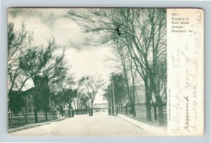 Davenport IA, Entrance To Rock Island Arsenal, Vintage Iowa c1905 Postcard
