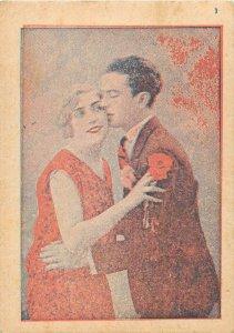 Romania studentika students prom souvenir postcard 1947 couple kiss