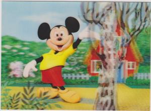 Disney : Mickey Mouse waving in front of house on yellow path, 1960s
