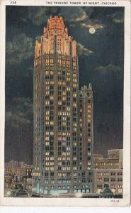 Illinois Chicago The Tribune Tower By Night 1931 Curteich