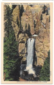 WY Yellowstone Park Tower Fall and Tower Haynes Linen Vintage Postcard Wyoming