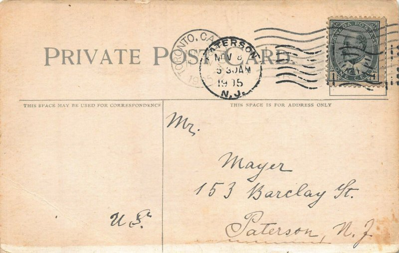 City Hall, Toronto, Ontario, Canada, early postcard, Used in 1915