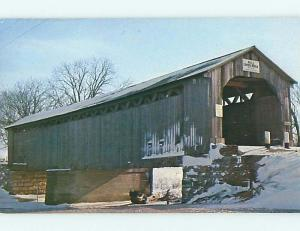Unused Pre-1980 COVERED BRIDGE Burgoon Ohio OH t7430-12