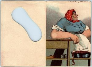 Vintage German Comic Folding Postcard Risqué / Toilet Humor UNUSED c1910s