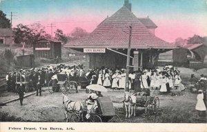 Van Buren Arkansas Frisco Railroad Depot Vintage Postcard KK455