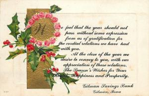 Gilman Iowa Savings Bank~Christmas Greetings~Holly Berry Roses~Embossed 1914