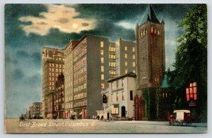 Columbus Ohio~East Broad Street Night Lights~Horse Delivery Wagon~Full Moon~1910