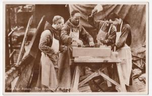 Devon; Buckfast Abbey, The Brothers At Work RP PPC, c 1930's, Unposted