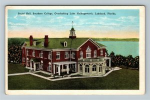 Lakeland FL, Social Hall, Southern College, Lake, Vintage Florida Postcard