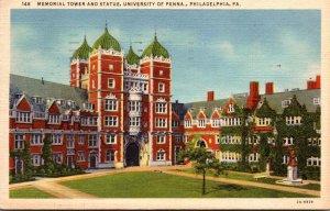 Pennsylvania Philadelphia Memorial Tower and Statue University Of Pennsylvani...