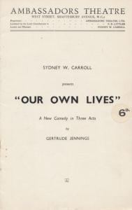 Our Own Lives Gertrude Jennings Comedy London Ambassadors Theatre Programme