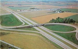 Ohio Turnpike~Interchange #5 Aerial View~Tollgate~Patchwork Farms~1950s