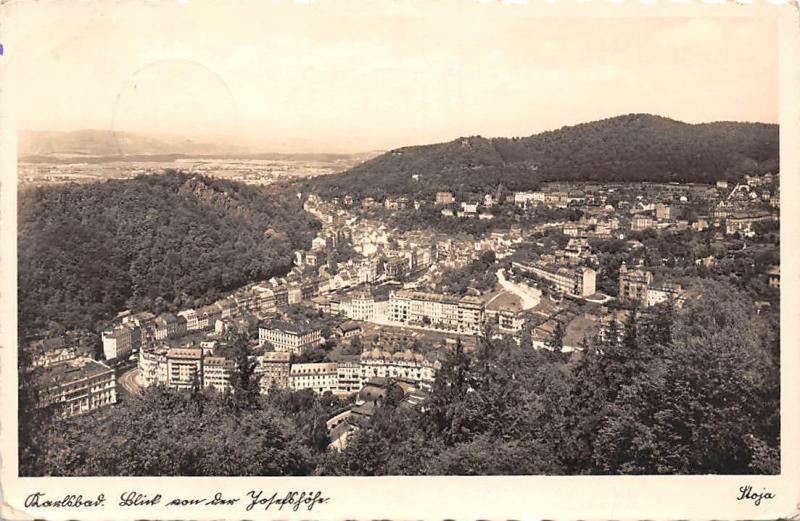 Czech R. Karlovy Vary Weltbad Karlsbad, general aerial view panorama 1941