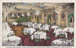NEW YORK CITY, New York, 1930-1940s; The Main Restaurant, Hotel Piccadilly