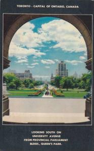 Looking South on University Avenue from Provincial Parliament Buildings, Quee...