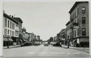 Princeton Illinois RPPC Main Street Automobiles Netherholds 5&10 Postcard K9