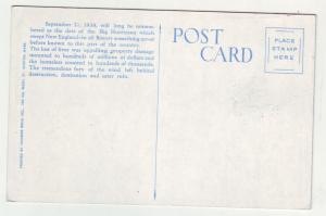 P1189 old postcard unused 1938 new england hurricane business section athol mass