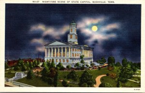 Tennessee Nashville State Capitol At Night