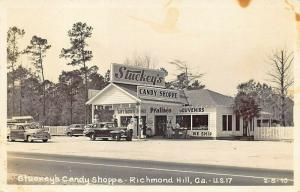 Richmond Hill GA Stuckey's Gas Station Candy Shoppe Old Cars Real Photo Postcard