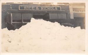 D21/ Garrettsville Ohio Postcard Photo RPPC c1910 Blizzard Rice Nichols Store