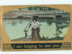 Divided-Back PRETTY WOMAN Risque Interest Postcard AA7853