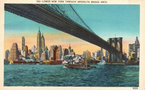 Vintage Postcard 1938 Lower New York Brooklyn Bridge Arch NY