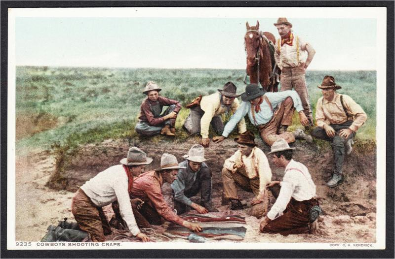 Cowboys Shooting Craps Gambling Phostint Postcard Detroit Publishing 1910s-1920s