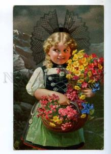 234980 Girl w/ Flowers by KNOEFEL Vintage NOVITAS Novolito PC