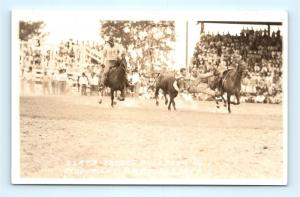 Postcard Rodeo Slats Jacobs Bulldogging RPPC Doubleday Real Photo H12