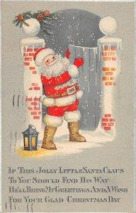 F97/ Santa Claus Christmas Postcard c1910 Smile Lantern Alliance Ohio 4