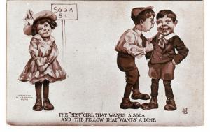 Best Girl Wants Soda Fellow Wants Dime Sheahan 1908 Postcard