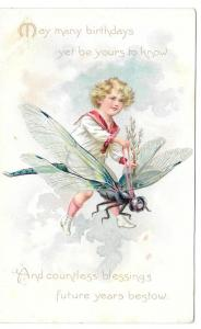 Boy Riding Dragonfly Tuck Embossed Birthday Postcard