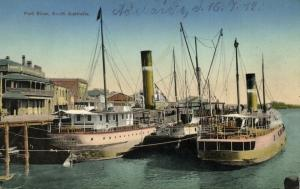australia, PORT RIVER, Adelaide, S.A., Harbour Scene with Steamers (1912)