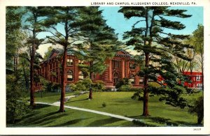 Pennsylvania Meadville Library and Campus Allegheny College 1937 Curteich