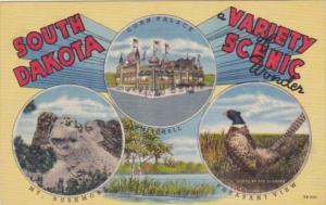South Dakota Mt Rushmore Corn Palace and Pheasant The State Bird Curteich