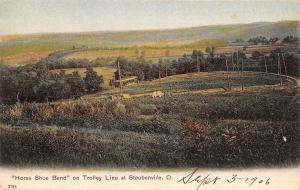Steubenville Ohio~Horse Shoe Bend~Interurban Trolley Car Line~Cows~1906 PCK PC
