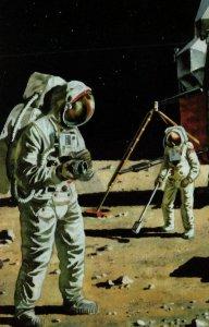 Buzz Aldrin Neil Armstrong Space Landing NASA 1970s Ladybird Painting Postcard