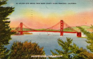 California San Francisco Golden Gate Bridge From Marin County 1949