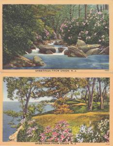 (2 cards) Greetings from Union New Jersey - Linen